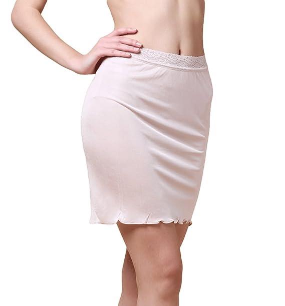 brand new de225 2056f Dexinx Frauen Halb Slip Elastische Spitze Taille Kurze Länge Unter Rock  Sommer Einfarbig Komfortable Mini Seidenrock