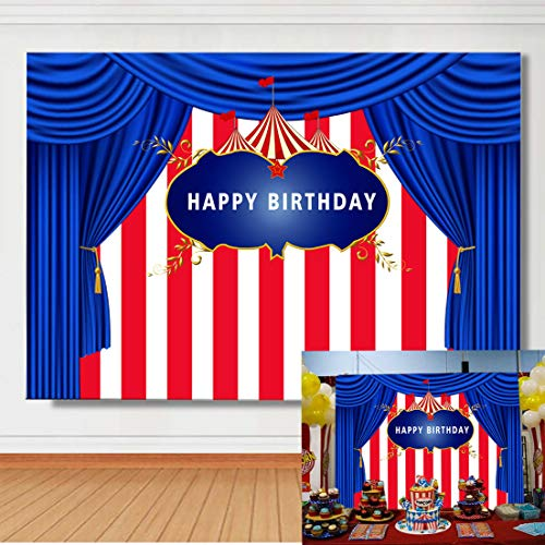 (TJ Carnival Tent Theme Photography Background Carnival Circus White and Red Stripes Blue Kids Birthday Party Photo Backdrops Baby Shower Studio Booth Props Banner Cake Table Decor 7x5ft Vinyl)