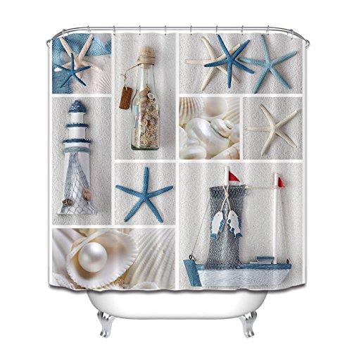 LB Bottle Seashell Pearl Starfish Lighthouse Decor Shower Curtain Set for Bathrooms, Nautical Marine Theme House Decor, 70x70 Fabric Shower Curtain Waterproof