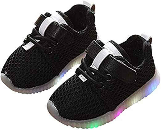 Kids LED Light Up Shoes Toddler Baby Girls Boys Breathable Knit Flashing Sock Soles Lightweight Slip-On Running Sneakers