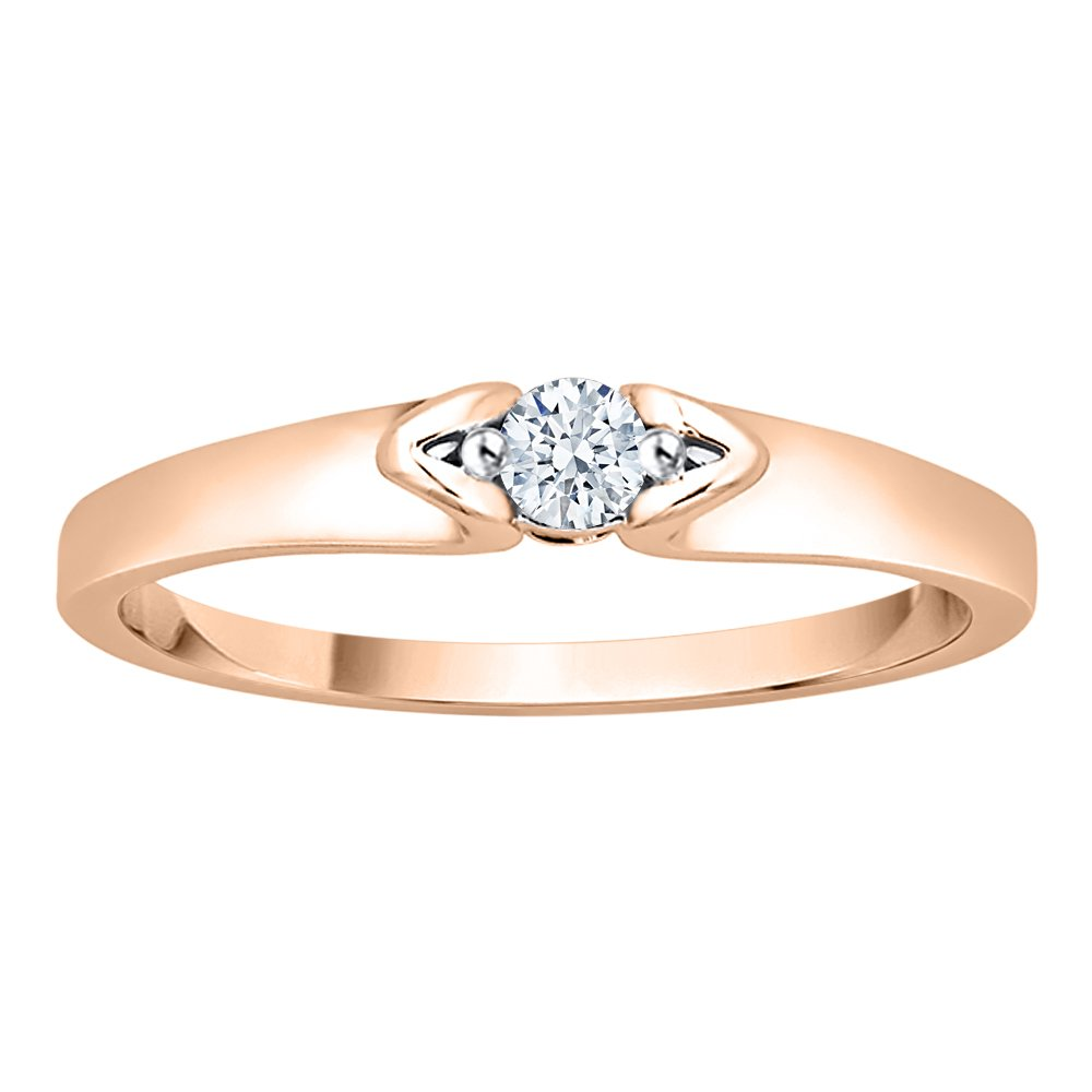 Size-5 G-H,I2-I3 3 Diamond Wedding Band in 10K Yellow Gold 1//10 cttw,