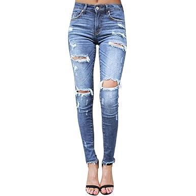 Mujer Pantalones Vaqueros Rotos Slim Fit, Gusspower ...