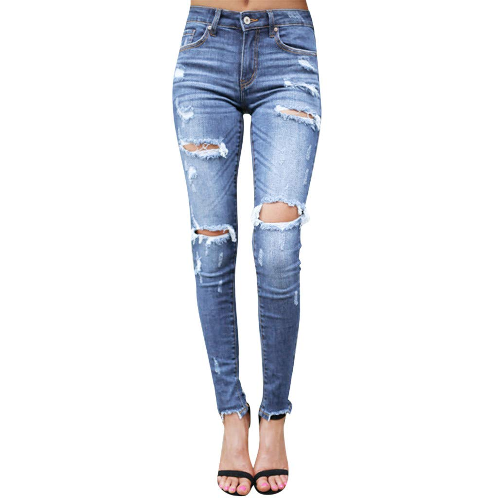 【MOHOLL】 Jeans Women's Plus Size Celebrity Pink Infinite Stretch Mid Rise Skinny Jean