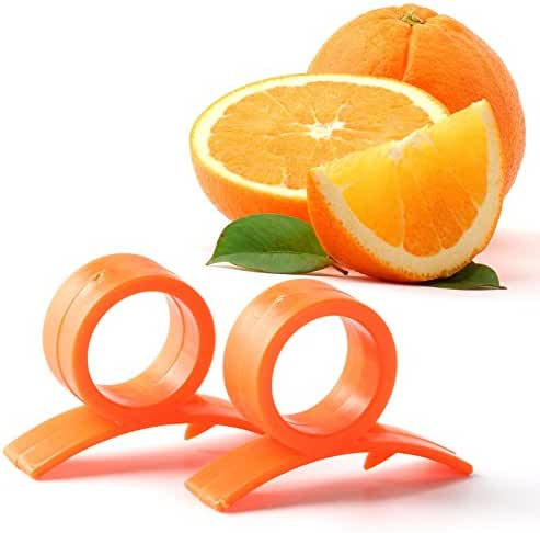 Mophorn Orange Opener Peeler Pack of 2 Slicer Cutter Plastic Lemon Citrus Fruit Skin Remover (Pack of 2)