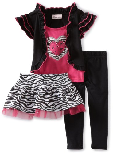 Little Lass Baby-Girls Infant 3 Piece Animal Print Skirt Set