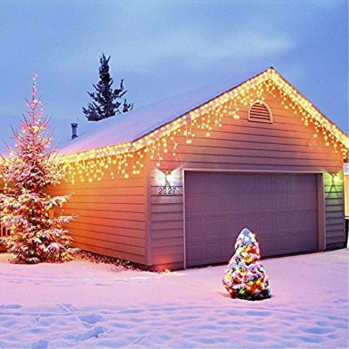 GreenClick Window Curtain String Lights, 32.8ft 480 Leds Fairy String Lights Wedding Party Garden Bedroom Outdoor Indoor Decorations,Waterproof, 8 Lighting Modes, UL Listed Adapter (Warm White)
