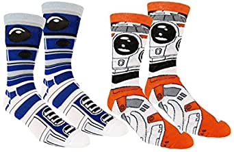Star Wars Mens Casual Crew Socks 2 Pair Pack BB-8