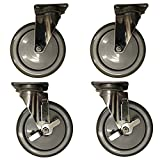 Service Caster – 6'' Gray Polyurethane Wheel – 2 Stainless Steel Swivel and 2 Stainless Steel Swivel Casters w/Brakes