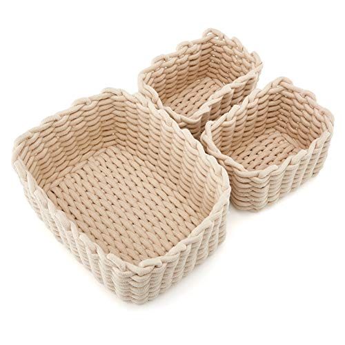 Perfect for Storing Small Household Items Gray EZOWare Set of 3 Decorative Woven Cotton Rope Baskets and Storage Organizer