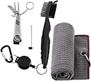 picidae 3 Pcs Golf Accessories Set, Golf Gifts Kit with Golf Club Brush, Golf Towel and Golf Foldable Divot Re