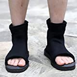 Naruto Uchiha Sasuke Haruno Sakura Ninja Cosplay Black Shoes Sandals Boots Kakashi Shoes Cosplay Costume Accessories Size 37