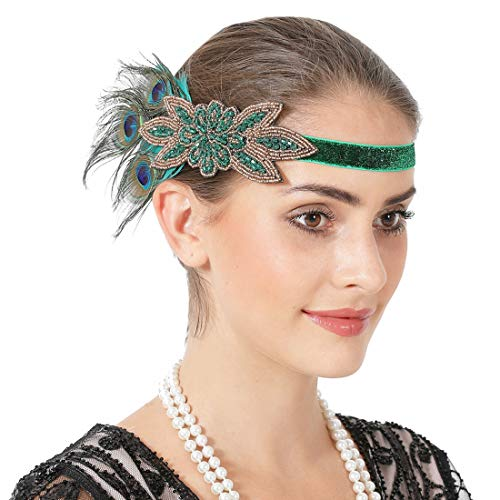 Vintage 1920s Flapper Headband Peacock Feather Gatsby Headpiece for Women Roaring 20s Party