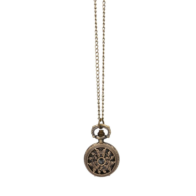 Cuekondy Chain Pendant Necklace Unisex Vintage Steampunk Hollow Bronze Quartz Pocket Watch for Men Women Teen Girls (G)