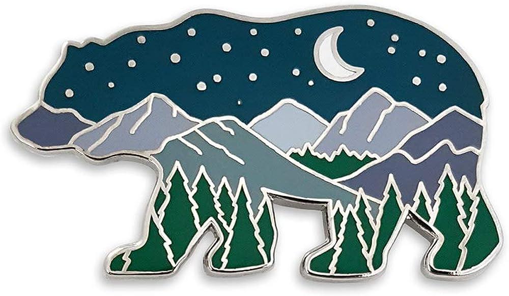 Pinsanity Bear Mountain Landscape at Night Enamel Lapel Pin