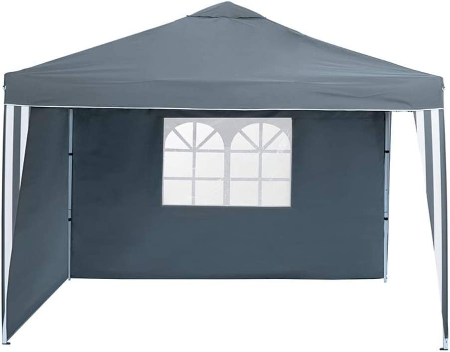 Florabest - Carpa plegable de aluminio, 300 x 260 x 300 cm, gris, 2 laterales, ventana, protección solar, cubierta de jacuzzi, muebles de jardín para ...