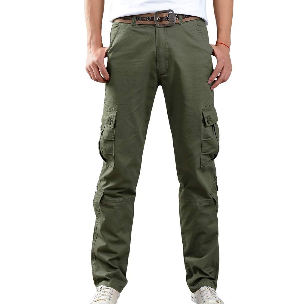 Yying Pantalones de acción de Combate de los Hombres Pantalones multibolsillo Cargo Pocket Pantalones de Trabajo Pantalones de algodón Monos Acampar al Aire Libre Pantalón