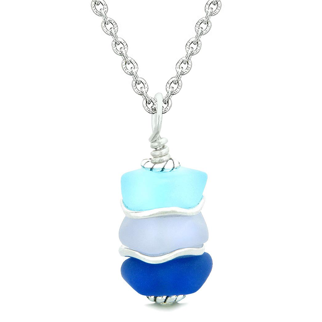 Sea Glass ICY Frosted Waves Ocean Sky Blue Purple Positive Powers Amulet Pendant 18 Inch Necklace