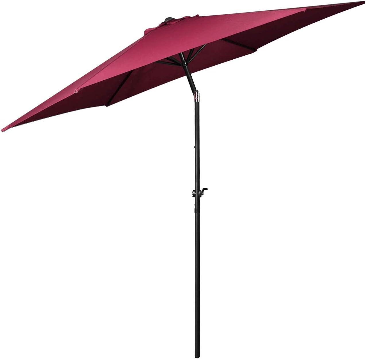 Flexzion Patio Umbrella 9 Feet - Portable Aluminum Outdoor Table Desk Umbrella Furniture with Hexagon Shape Polyester Cover 6 Steel Ribs Wind Vent for Market Beach Garden Backyard Pool Sunshine (Red)