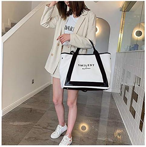 日本と韓国のスタイル夏の大容量バッグ女性の新しいファッションのメッセンジャーバッグシンプルなキャンバスのショルダーバッグポータブルトートバッグシンプルな人格 (Color : White)