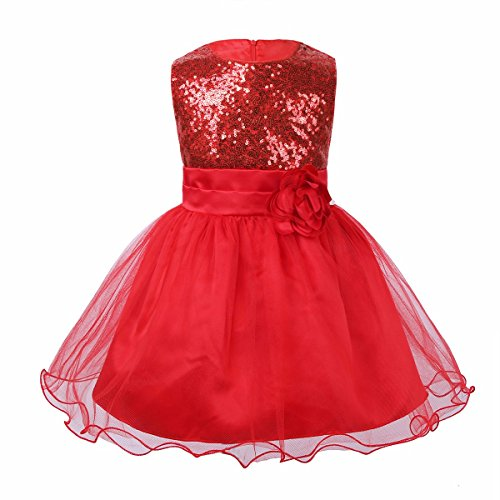 iEFiEL Baby Girls Sequins Mesh Flower Princess Pageant Wedding Birthday Party Tutu Dress Red 12-18 Months