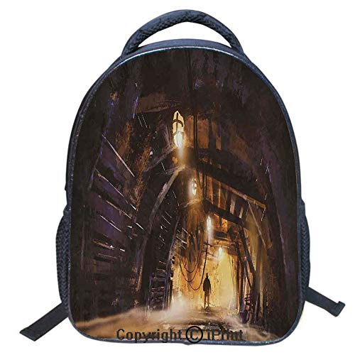(Waterproof Cute School Backpack for Boys and Girls,Water Resistant Fashion College Book Bag Unisex,16 inch,Underground Tunnel of The Mine Shaft Smokey Dark Rocky Abandoned)