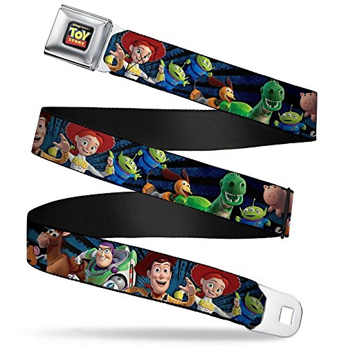 Buckle-Down Seatbelt Belt - Toy Story Characters Running Denim Rays - 1.5