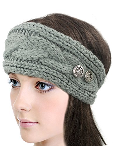 Dahlia Women's Winter Knit Headband - Button Accented - Gray
