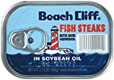 BEACH CLIFF Fish Steaks Bite Size Herring In Soybean Oil, 3.75 Ounce Cans (Pack of 18), High Protein Food, Keto Food and Snacks, Gluten Free Food, High Protein Snacks, Canned Food