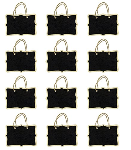 (Miraclekoo 12 Double Sided Fancy Rectangle Rope Hanging Mini Chalkboard for Wedding Gift Tags Party Favors Storage Labeling Tags)