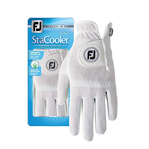 FootJoy Women's StaCooler Golf Glove, Pearl Large, Worn on Left -
