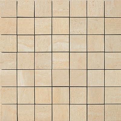 Samson 1037076 Travertini Matte 2X2 Mosaic Floor and Wall Tile, 17X17-Inch, Cream, 1-Piece