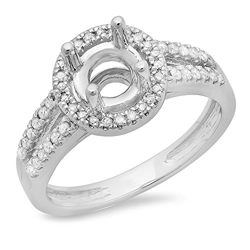 (Dazzlingrock Collection 0.33 Carat (ctw) 14K Round Diamond Split Shank Semi Mount Ring 1/3 CT (No Center), White Gold, Size 7 )
