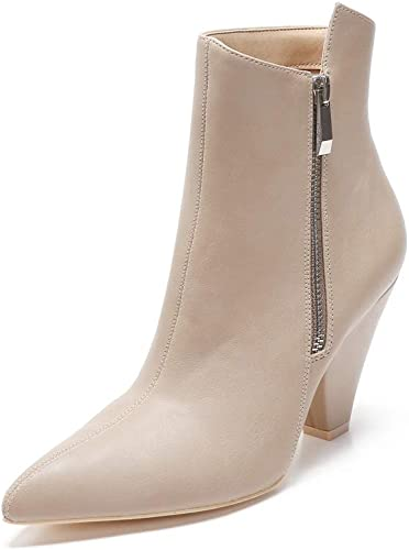 343-2 Women Ankle High Pointed Toe Cone Heel Zipper Booties Boots