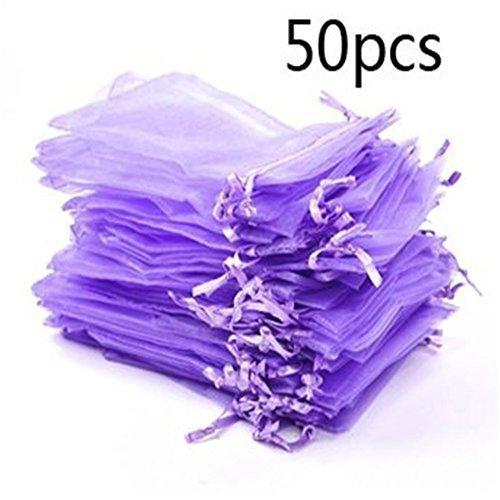 50PCS 13*18cm colore viola organza coulisse sacchetto regalo sacchetto avvolgere gioielli borse