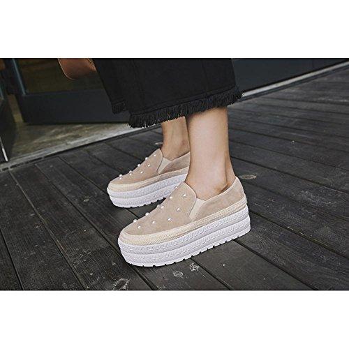 de Mujer Zapatillas Perlas WSXY A3219 Mujeres Plataforma con de Zapatos Deporte apricot Accesorios KJJDE UAwxqHBT
