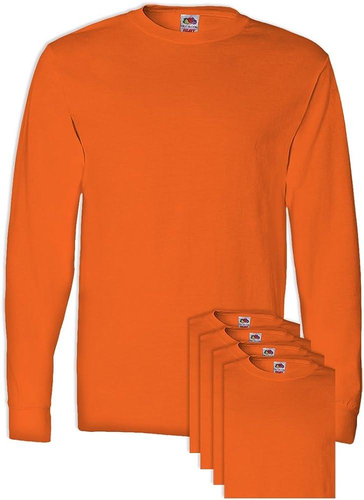 FoTL 4930 Mens Heavy Cotton Long-Sleeve Tee XL Safety Orange 5 Pack