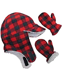 Little Boys and Baby Sherpa Lined Fleece Flap Hat Mitten Winter Set