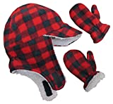 N'Ice Caps Little Boys and Baby Sherpa Lined Fleece Flap Hat Mitten Winter Set (2-3 Years, Red Buffalo Plaid)