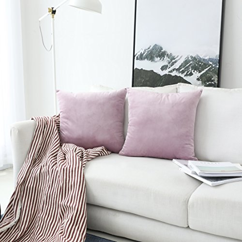 UGASA Velvet Soft Soild Decorative Square Throw Pillow Covers Set Cushion Case for Sofa/Bedroom/Car, Set of 2, 18x18 Inch, Pink Lavender ()