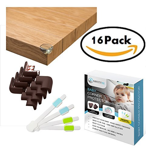 Safety4u Baby Proofing Cushion Corner Guards - Huge 12 Edge Protectors Bumpers Set for Furniture with Strong PRE-Tapped 3m Adhesive Tape to Ensure Your Child Safety & 4 Free Adjustable Cabinet Locks