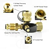 Stanbroil Propane Gas Brass Tee Adapter with 4 Port for RV or Motorhome