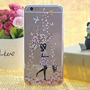 QYF Snow in Girls Pattern TPU Relief Thin Transparent All Inclusive Back Cover Case for iPhone 6