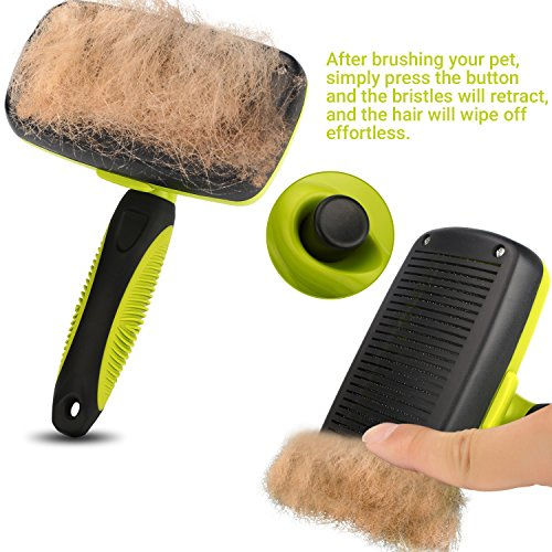 Dog Brush Cat Pet Grooming Brush Comb Self Cleaning Slicker Brush Reduces Shedding Up to 90% Removes Tangles De Sheds for Long Medium & Thick Hair Pet Green and Black by Pecute (Image #6)