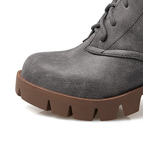 AllhqFashion Kitten Lace Womens Boots Solid PU Up Round Toe Closed Heels Gray rqrxwO