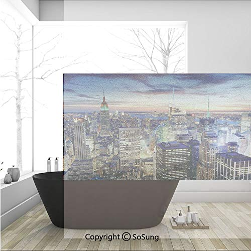 3D Decorative Privacy Window Films,Skyline of NYC with Urban Skyscrapers at Sunset Dawn Streets USA Architecture,No-Glue Self Static Cling Glass film for Home Bedroom Bathroom Kitchen Office 36x24 Inc]()