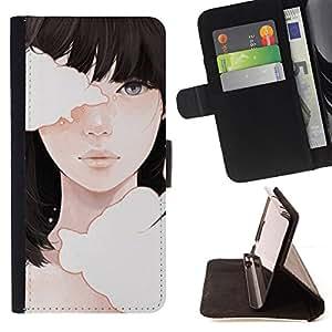 """For Samsung Galaxy A5 ( A5000 ) 2014 Version,S-type Significado Profundo Chica Negro Emo Hair"""" - Dibujo PU billetera de cuero Funda Case Caso de la piel de la bolsa protectora"""