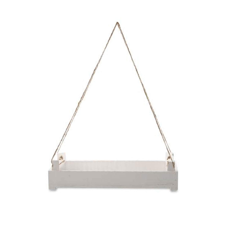 Holzbrett zum Hängen | Hängebrett Regal aus Holz - weiß |Wand-Hängebrett