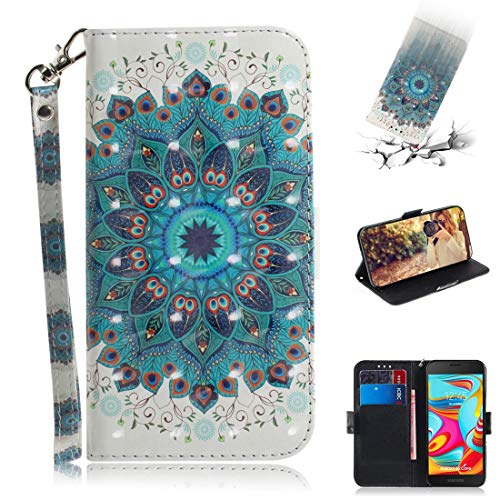 Beautiful Cases & Covers 3D Colored Drawing Peacock Wreath Pattern Horizontal Flip Leather Case for Galaxy A2 Core, with Holder & Card Slots & Wallet