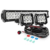 Nilight ZH002 20Inch 126W Flood Combo Road Light Bar 2PCS 18w 4Inch Spot LED Pods with 16AWG Wiring Harness Kit-2 Lead, 2 Years Warranty