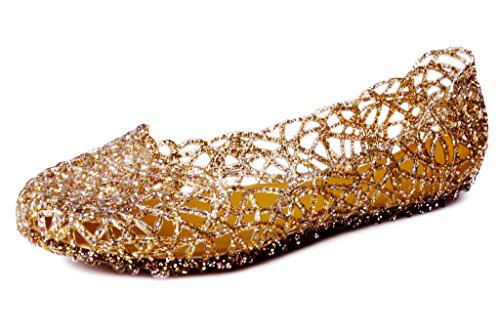 Kunsto Women's Bird Nest Jelly Ballet Flats US Size 6.5 Gold ()